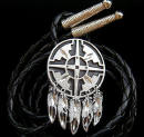 Diamond Cut Feathers With Shield Bolo Tie