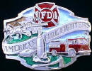Colored American Firefighter Belt Buckle