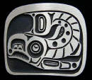 Sand Cast Bronze Spawning Salmon Belt Buckle