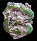Colored Serpentlike Chinese Dragon Belt Buckle