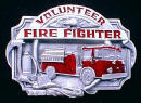 Colored Volunteer Firefighter Belt Buckle